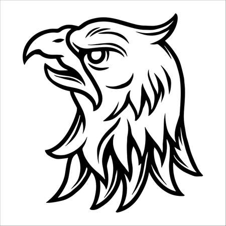 Tattoo concept of strong eagle head in vintage monochrome style isolated vector illustration 矢量图像