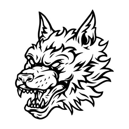Aggressive scary wolf head tattoo concept in vintage style and black and white colors isolated vector illustration Ilustracje wektorowe