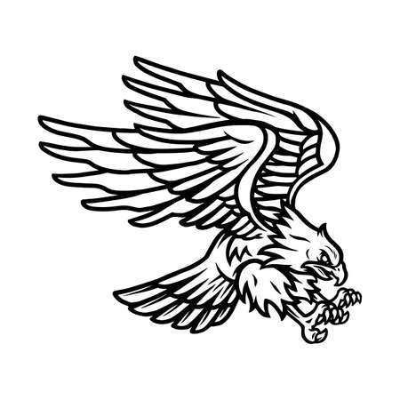 American eagle vintage tattoo template in monochrome style isolated vector illustration