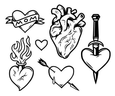 Hearts tattoos vintage monochrome composition with Mom inscription on ribbon fiery anatomical variations and hearts pierced with dagger and arrow isolated vector illustration