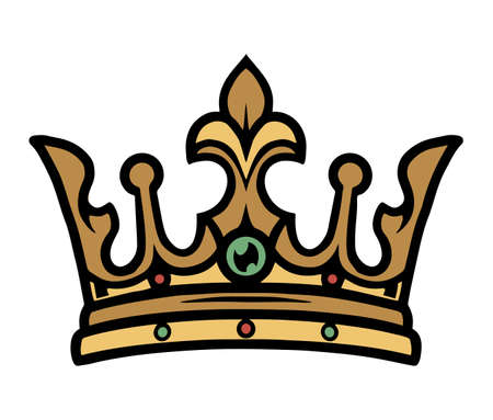 King gold crown vintage concept on white background isolated vector illustration