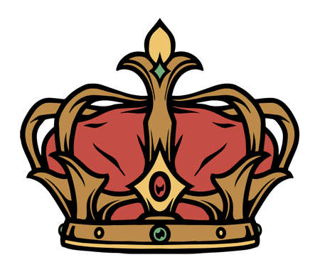 Colorful tattoo concept of royal crown in vintage style isolated vector illustration 矢量图像