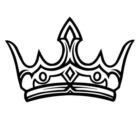 Medieval royal crown monochrome tattoo template in vintage style isolated vector illustration 矢量图像