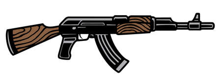 Assault rifle AK47 colorful template in vintage style isolated vector illustration