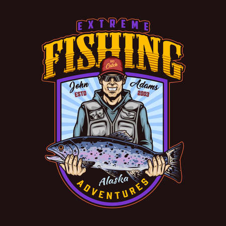 Extreme fishing colorful vintage badge with smiling fisherman in baseball cap and sunglasses holding big rainbow trout isolated vector illustration