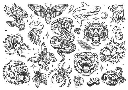 Vintage tattoos set with shark butterfly bug spider fly rooster bear tiger wolf eagle gorilla heads snake scorpio dice diamond cross skull with flames from eyes isolated vector illustration