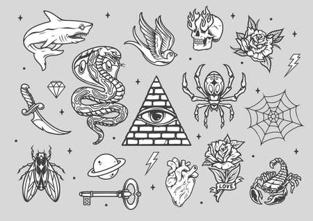 Vintage tattoos composition with various animals machete skull with fire from eye sockets planet key cobweb flowers heart diamond pyramid with eye isolated vector illustration