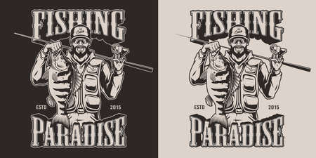 Vintage fishing emblem with happy fisher holding bass and fishing rod on dark and light backgrounds isolated vector illustration