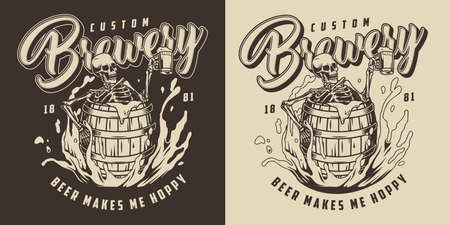 Brewing vintage monochrome label with drunk skeleton holding cup of foamy alcoholic drink and sitting in wooden barrel in beer splashes isolated vector illustration Illusztráció