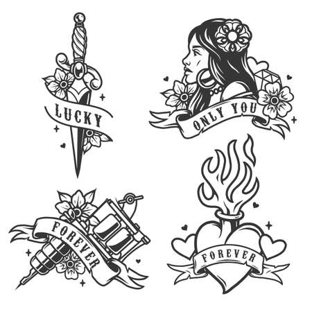 Vintage monochrome tattoos with sharp elegant dagger tattoo machine fiery heart beautiful woman with earrings necklace and flower in her hair isolated vector illustration