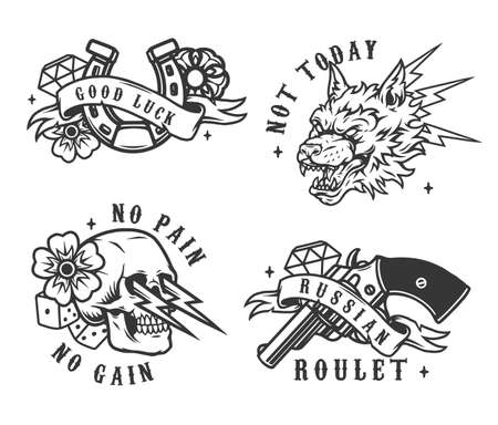 Vintage monochrome gambling emblems with revolver dice diamonds horseshoe flowers ferocious wolf head and skull with thunderbolts isolated vector illustration