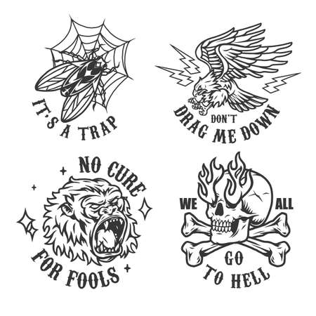 Vintage monochrome tattoos with angry eagle ferocious gorilla head fly in spiderweb trap crossbones and skull with fire from eye sockets isolated vector illustration Ilustracja