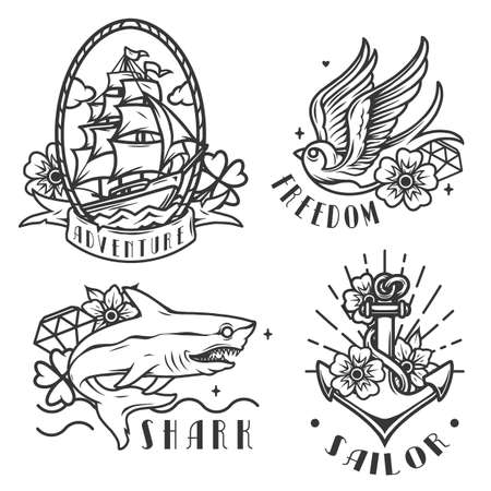 Nautical vintage emblems with marine and sailing tattoos in monochrome style isolated vector illustration