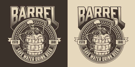 Brewing vintage monochrome badge with drunk skeleton holding mug of beer and sitting in wooden barrel isolated vector illustration Illusztráció