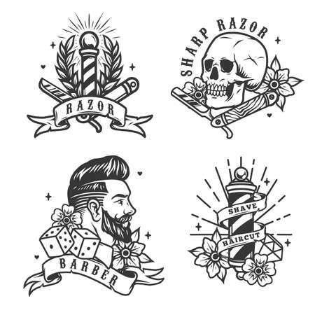 Barbershop vintage labels set with metal poles skull straight razors dice diamond stylish bearded man head and roses in monochrome style isolated vector illustration