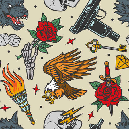 Vintage tattoos seamless pattern with angry wolf head eagle UZI skeleton hand holding flower key diamond burning torch dice skull with lightnings rose pierced with dagger vector illustration