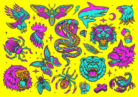 Vintage tattoos set with bright angry tiger bear wolf eagle rooster gorilla heads snake bug butterfly moth scorpio shark spider fly feather dice skull with fire from eyes isolated vector illustration