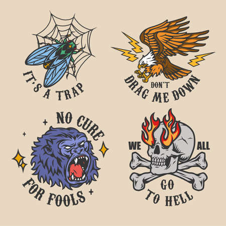 Vintage colorful tattoos set with angry gorilla head eagle fly in cobweb skull with flames from eye sockets isolated vector illustration