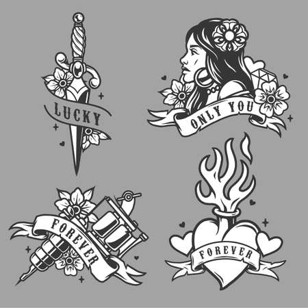 Vintage tattoos collection with attractive woman dagger tattoo machine fiery heart flowers diamond and ribbons with different inscriptions isolated vector illustration