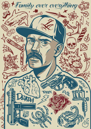 Vintage tattoo composition with mustached latino man in baseball cap weapon tattoo machine animals anchor flowers heart dice crown daggers skull barber pole bone razor elements vector illustration