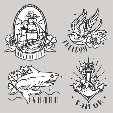 Monochrome vintage maritime prints with sailing ship flying swallow shark metal anchor flowers and diamonds isolated vector illustration