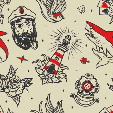 Maritime vintage seamless pattern with sea captain head smoking pipe lighthouse shark flower swallow diver helmet diamond clover and playing cards vector illustration