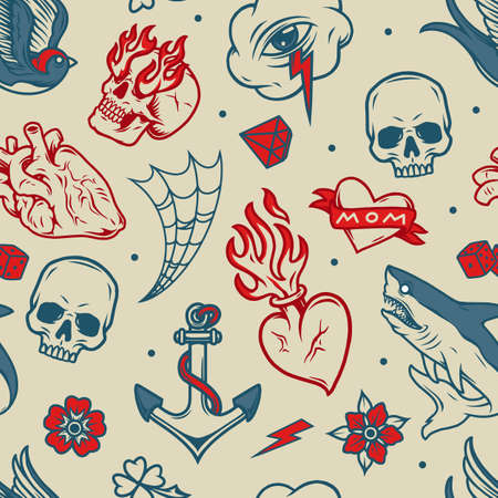 Vintage tattoos seamless pattern with anatomical and fiery hearts flying swallow shark dice diamond cobweb flowers anchor cloud with eye and lightning skulls vector illustration