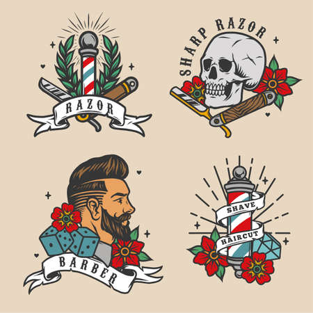 Barbershop vintage colorful emblems with stylish man head barber poles straight razors skull flowers dice diamond isolated vector illustration Ilustracja