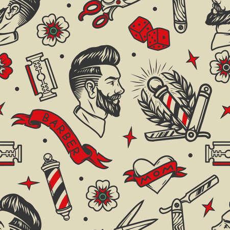 Barbershop tattoos vintage seamless pattern with barber metal striped pole scissors dice stylish bearded man flowers heart straight razor and razor blades vector illustration
