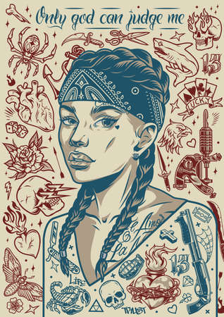 Vintage tattoo designs poster with pretty chicano girl in bandana animals insects skulls scissors weapon hearts razor playing cards anchor flowers tattoo machine dice arrow vector illustration Ilustracja