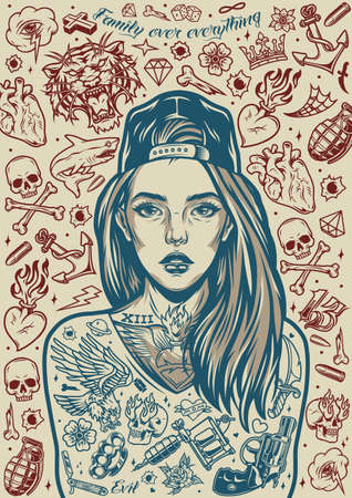 Chicano tattoo designs vintage poster with beautiful girl in cap angry animals skulls crown hearts razor knuckles pistol grenade flowers daggers anchor bullets dice tattoo machine vector illustration