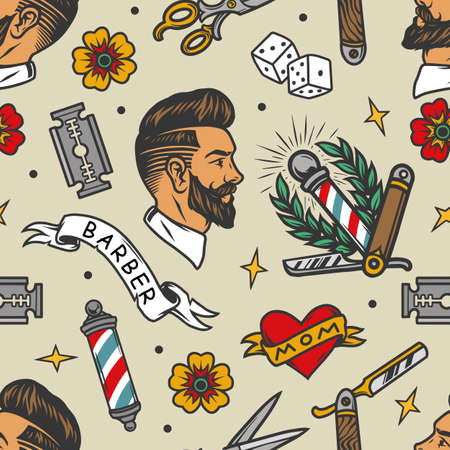 Barbershop tattoos colorful seamless pattern in vintage style with stylish man head scissors barber pole dice heart flowers straight razor blades vector illustration 矢量图像