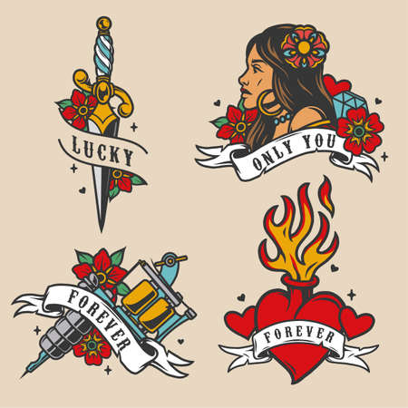 Colorful vintage tattoos set with dagger pretty woman with flower in her hair tattoo machine fiery heart diamond isolated vector illustration