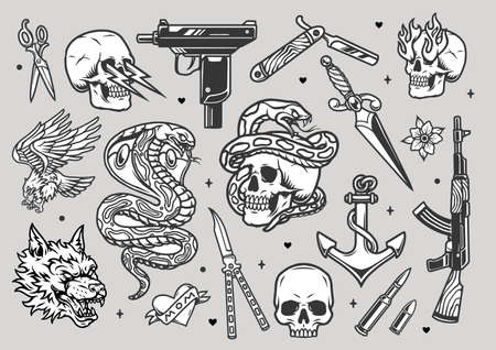 Tattoos vintage monochrome collection with weapon knives razor dagger bullets angry wolf head snake eagle heart anchor skulls with lightnings and flames from eye sockets isolated vector illustration