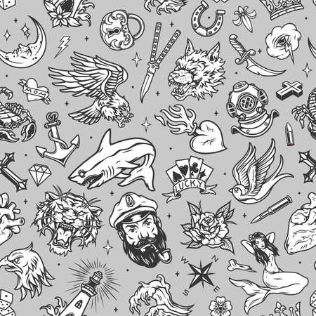 Vintage marine seamless pattern with sea captain wolf tiger heads mermaid swallow diving helmet knives dagger horseshoe shark anchor padlock crown eagle lighthouse hearts vector illustration