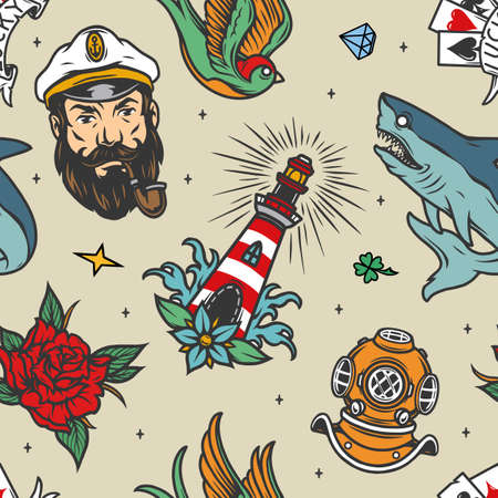 Colorful vintage nautical seamless pattern with sea captain head shark lighthouse swallow playing cards diving helmet rose flower vector illustration Ilustracja