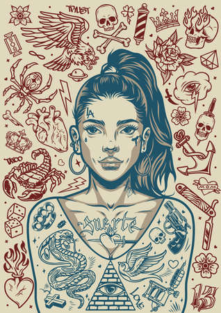 Vintage tattoos monochrome poster of pretty chicano girl with ponytail and various tattoo designs vector illustration Ilustracja