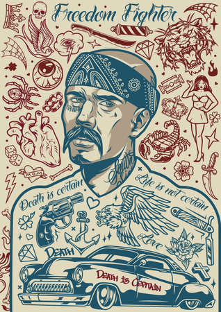 Vintage chicano tattoos concept with mustached latino man in bandana and different designs in monochrome style vector illustration