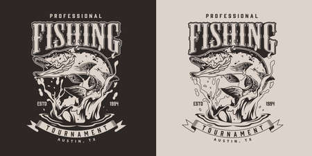 Fishing vintage print with pike fish jumping out of water in monochrome style isolated vector illustration