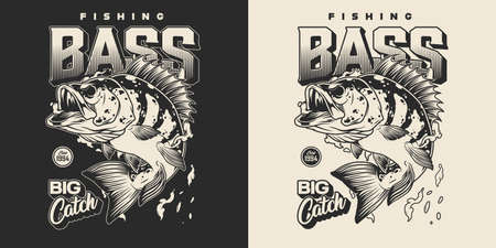 Vintage fishing monochrome print with letterings perch and water drops on dark and light backgrounds isolated vector illustration Ilustracja
