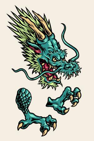 Aggressive japanese dragon parts concept with scary head and claws in vintage style isolated vector illustration