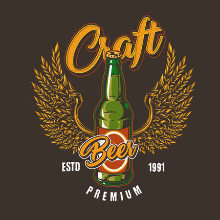 Vintage brewery colorful emblem with green beer bottle and eagle wings made of barley ears isolated vector illustration