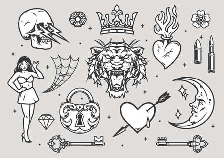 Tattoos vintage collection in monochrome style on gray background isolated vector illustration
