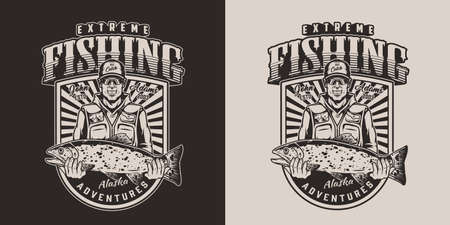 Vintage fishing print in monochrome style with happy fisherman holding big trout isolated vector illustration Ilustracja