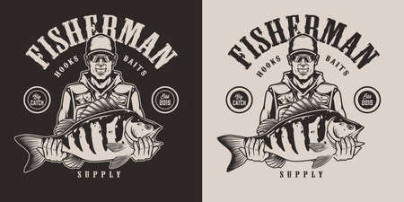 Monochrome vintage fishing label with smiling angler in baseball cap and sunglasses holding bass isolated vector illustration