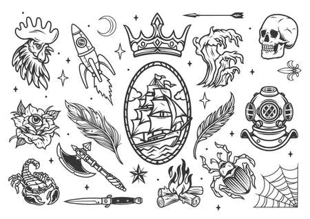 Monochrome tattoos set in vintage style with nautical emblem rocket animals feathers crown arrow skull diver helmet tsunami bonfire ax knife crescent flower with eye isolated vector illustration Ilustracja