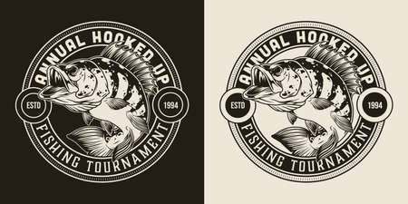 Fishing monochrome round badge in vintage style with inscriptions and bass fish isolated vector illustration