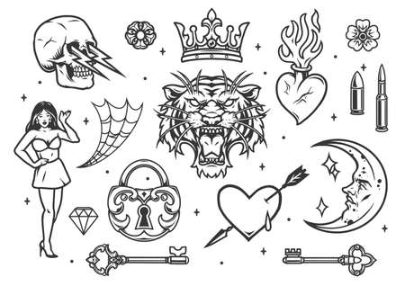 Monochrome vintage tattoos composition with bullets hearts beautiful woman crown tiger head crescent with human face medieval lock keys flowers spiderweb isolated vector illustration