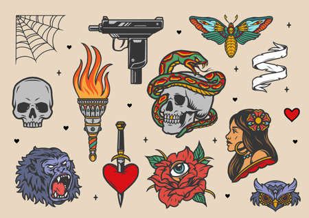 Vintage tattoos set with UZI submachine gun torch attractive woman snake entwined with skull rose with eye gorilla owl heads death's head moth heart pierced with dagger isolated vector illustration