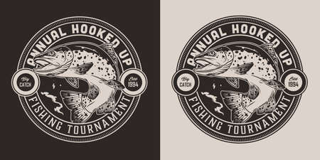 Vintage fishing round print in monochrome style with inscriptions and trout fish isolated vector illustration Ilustracja